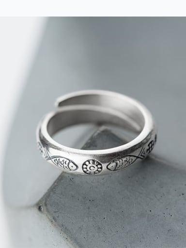 925 Sterling Silver  Vintage Letter Free Size Midi Ring
