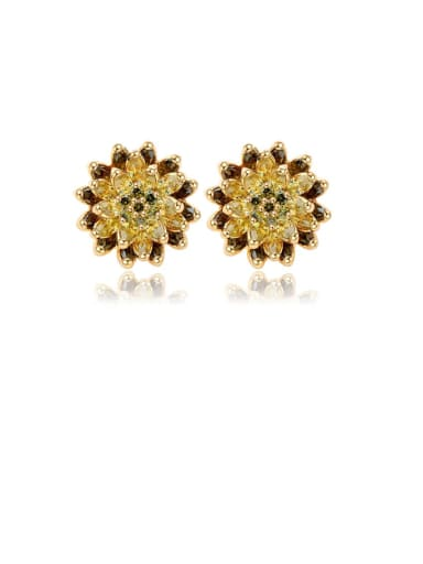 Copper Cubic Zirconia Flower Luxury Stud Earring