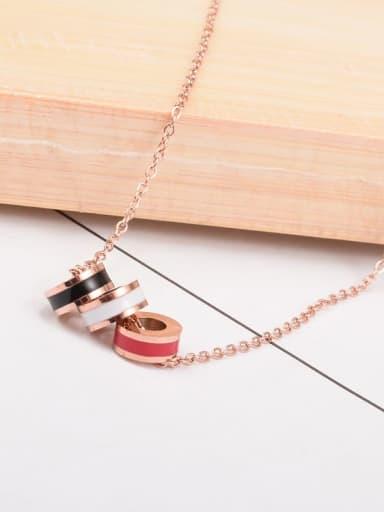 Titanium Enamel  Round Minimalist pendant Necklace