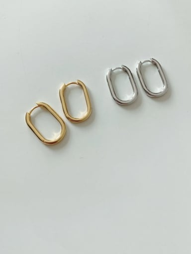 925 Sterling Silver Minimalist Smooth Hollow Geometric  Stud Earring