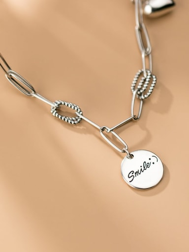 925 Sterling Silver retro geometric chain round brand Pendant Necklace