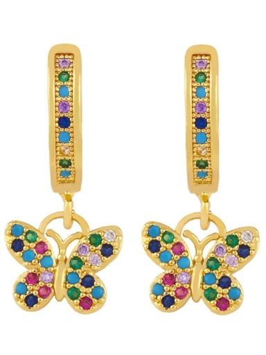 butterfly Brass Cubic Zirconia Butterfly Vintage Huggie Earring