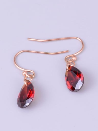 Rose Gold Earrings Titanium Cubic Zirconia Red Necklace