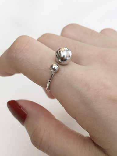 925 Sterling Silver Ball Minimalist  Free Size Midi Ring