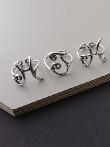925 Sterling Silver Letter J Vintage Free Size Midi Ring