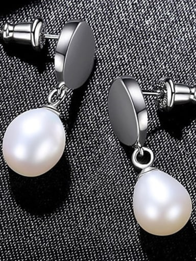 White 4H03 925 Sterling Silver Freshwater Pearl  Smooth Round Dainty Drop Earring