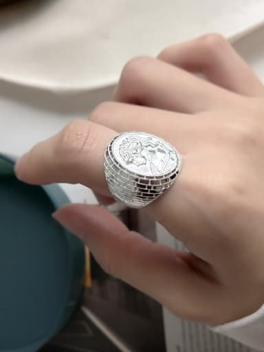 925 Sterling Silver Round Vintage Band Ring