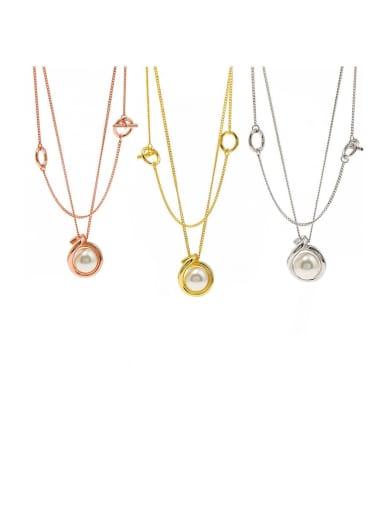 Copper Imitation Pearl White Round Minimalist Multi Strand Necklace