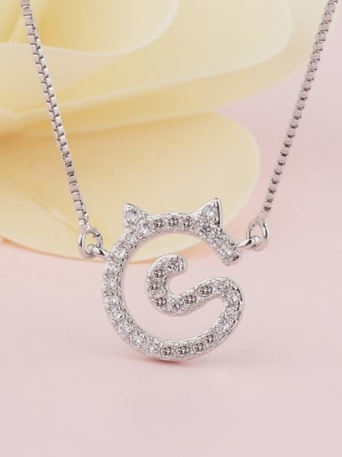 platinum Brass Cubic Zirconia Cat Cute Necklace
