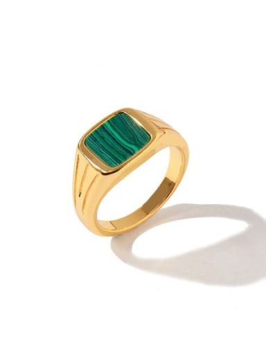 Golden green Copper Square Minimalist Band Ring