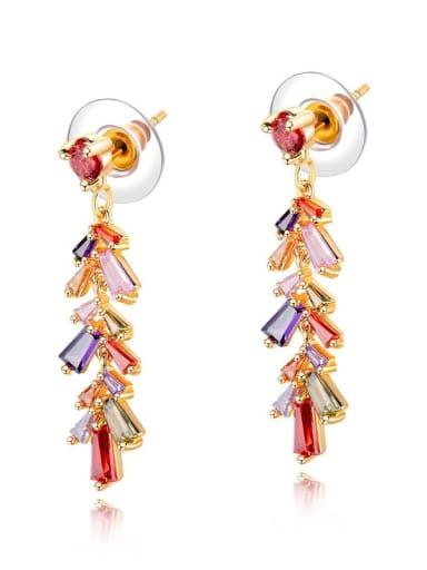 Brass Cubic Zirconia Multi Color Flower Dainty Huggie Earring