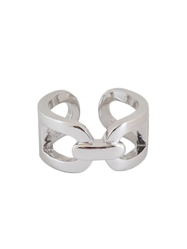 925 Sterling Silver Hollow Geometric Minimalist Free Size Ring