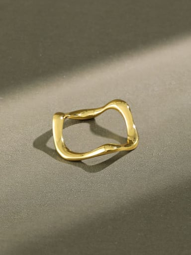 925 Sterling Silver Irregular Minimalist  wave Band Ring