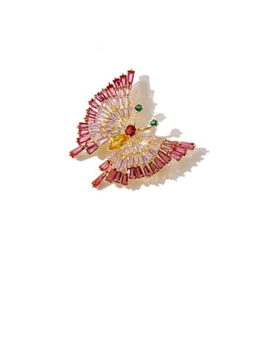 Copper Cubic Zirconia White Butterfly Cute Brooches