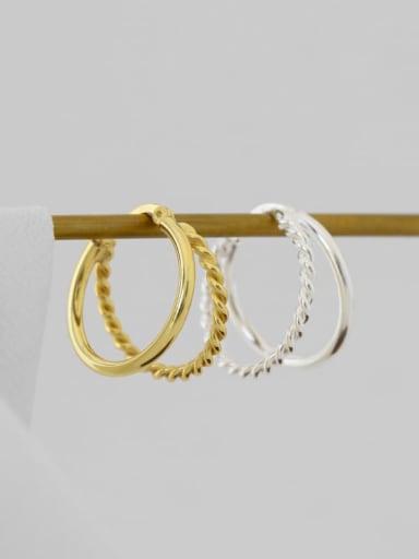 925 sterling silver Simple Double Ring  Twist Earrings