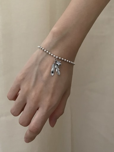 925 Sterling Silver Cubic Zirconia Feather Artisan Link Bracelet