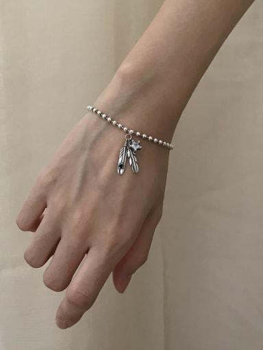 925 Sterling Silver Cubic Zirconia Feather Artisan Link Bracelet