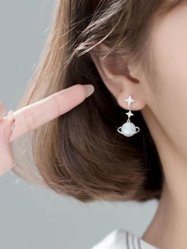Silver 925 Sterling Silver Shell Flower Minimalist Drop Earring