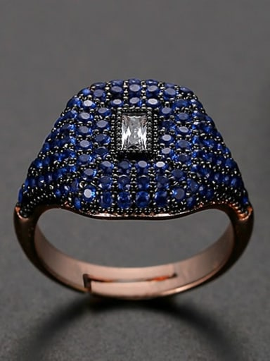 Blue Copper Rhinestone Geometric Dainty Band Ring
