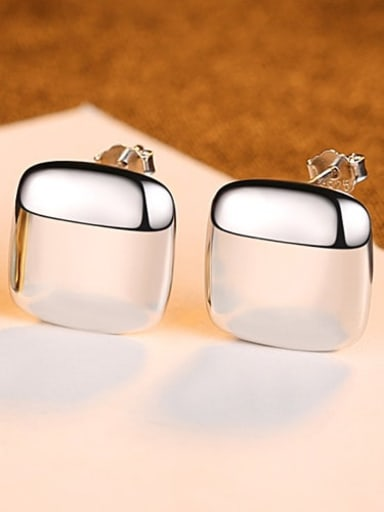 Platinum 24C04 925 Sterling Silver Smooth Square Minimalist Stud Earring