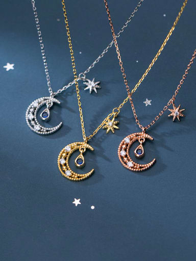 925 Sterling Silver Rhinestone Moon Minimalist Necklace