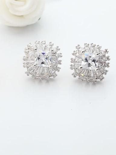 Platinum Copper Cubic Zirconia Flower Luxury Stud Earring