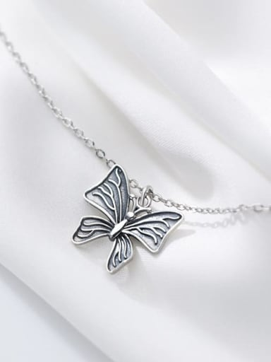 925 Sterling Silver Butterfly Vintage Necklace