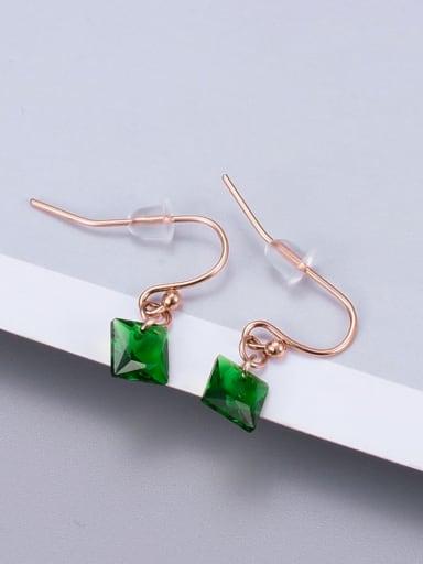E122 Green Diamond Rose gold ear hook Titanium Glass Bead Coin Minimalist Hook Earring