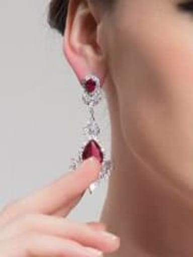 Red corundum t02e02 Copper Cubic Zirconia Geometric Luxury Drop Earring