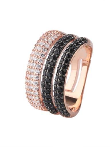 Brass Cubic Zirconia Geometric Luxury Stackable Ring
