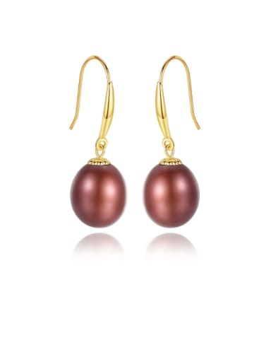 925 Sterling Silver Freshwater Pearl Multi Color Oval Minimalist Hook Earring