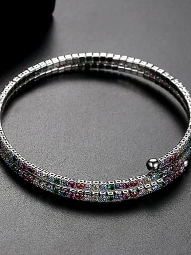 Color plating platinum t14f17 Copper Cubic Zirconia Multi Color Round Luxury Bracelet