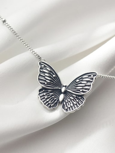 pearl chain Butterfly Necklace 925 Sterling Silver Butterfly Vintage Necklace