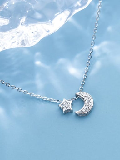925 Sterling Silver Cubic Zirconia Fashion Star Moon Pendant Necklace