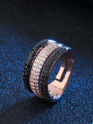 black rose   black Brass Cubic Zirconia Geometric Luxury Stackable Ring