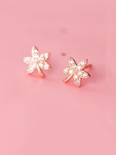 925 Sterling Silver Cubic Zirconia White Leaf Minimalist Stud Earring