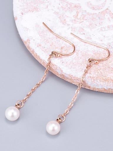 Titanium Imitation Pearl White Tassel Minimalist Threader Earring