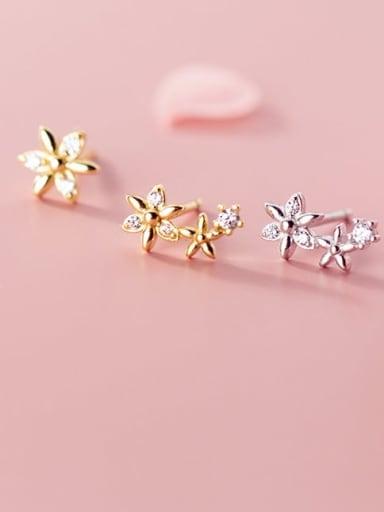 925 Sterling Silver Rhinestone White Star Minimalist Stud Earring