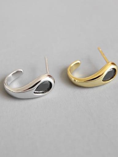 925 Sterling Silver Cubic Zirconia Black Irregular Minimalist Hook Earring