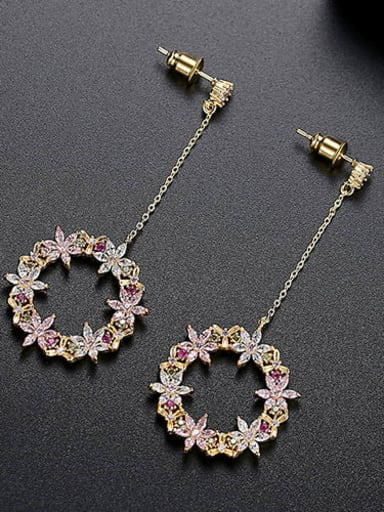 gold-t04i06 Copper Cubic Zirconia Multi Color Holllow Round Minimalist Drop Earring