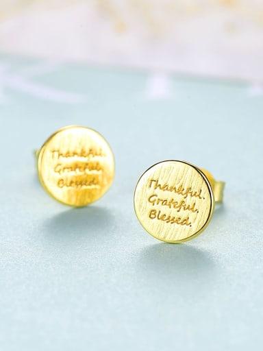 18K 16F09 925 Sterling Silver Round  Letter Minimalist Stud Earring