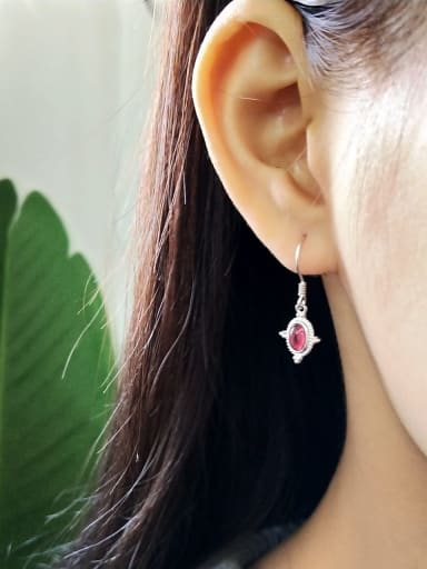 925 Sterling Silver Ruby Red Geometric Minimalist Hook Earring