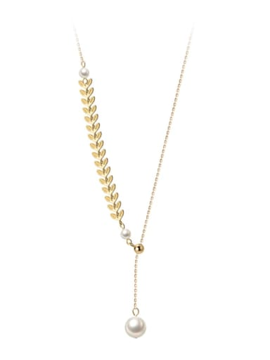 925 Sterling Silver Imitation Pearl Tassel Minimalist Lariat Necklace