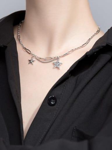 925 Sterling Silver Star Vintage Multi Strand Necklace