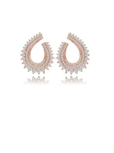 Copper Cubic Zirconia Geometric Luxury Cluster Earring