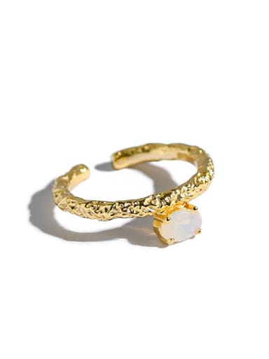 925 Sterling Silver Opal Geometric Minimalist Band Ring