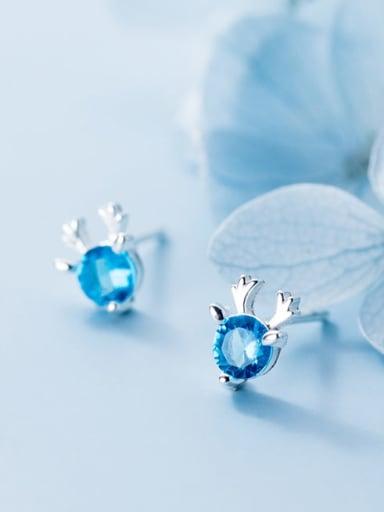 925 Sterling Silver Cubic Zirconia Blue Deer Minimalist Stud Earring