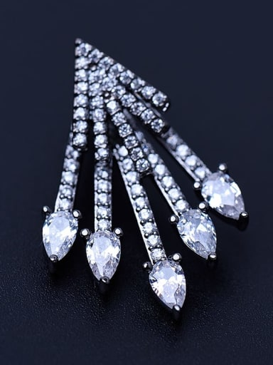 White zirconium platinum t09a09 Copper Rhinestone Irregular Hip Hop Stud Earring