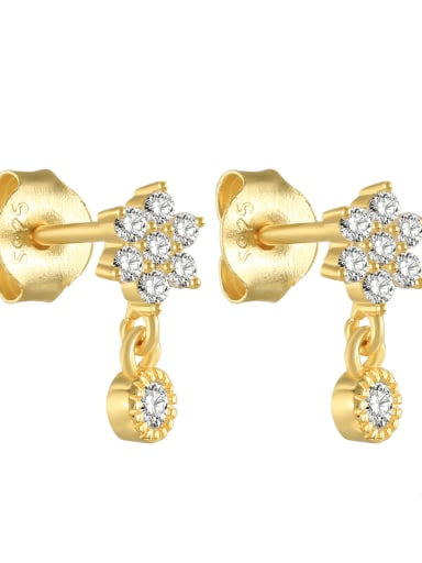 925 Sterling silver Rhinestone Geometric Minimalist  snowflake Stud Earring