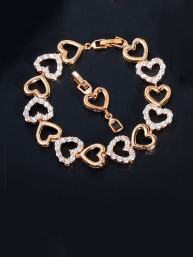 gold Copper Cubic Zirconia Heart Dainty Bracelet